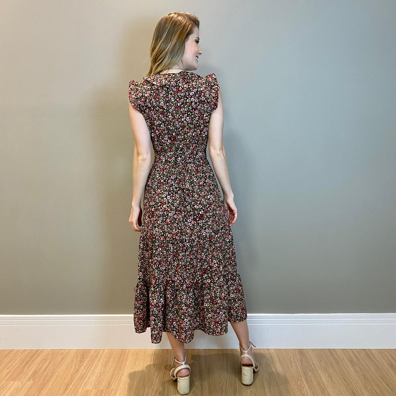 Vestido midi transp. floral Preto -
