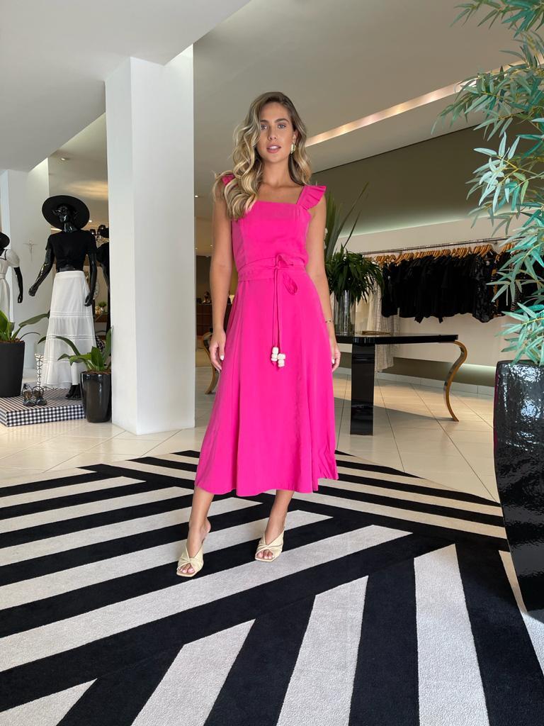 Vestido midi viscocrepe felix Pink -
