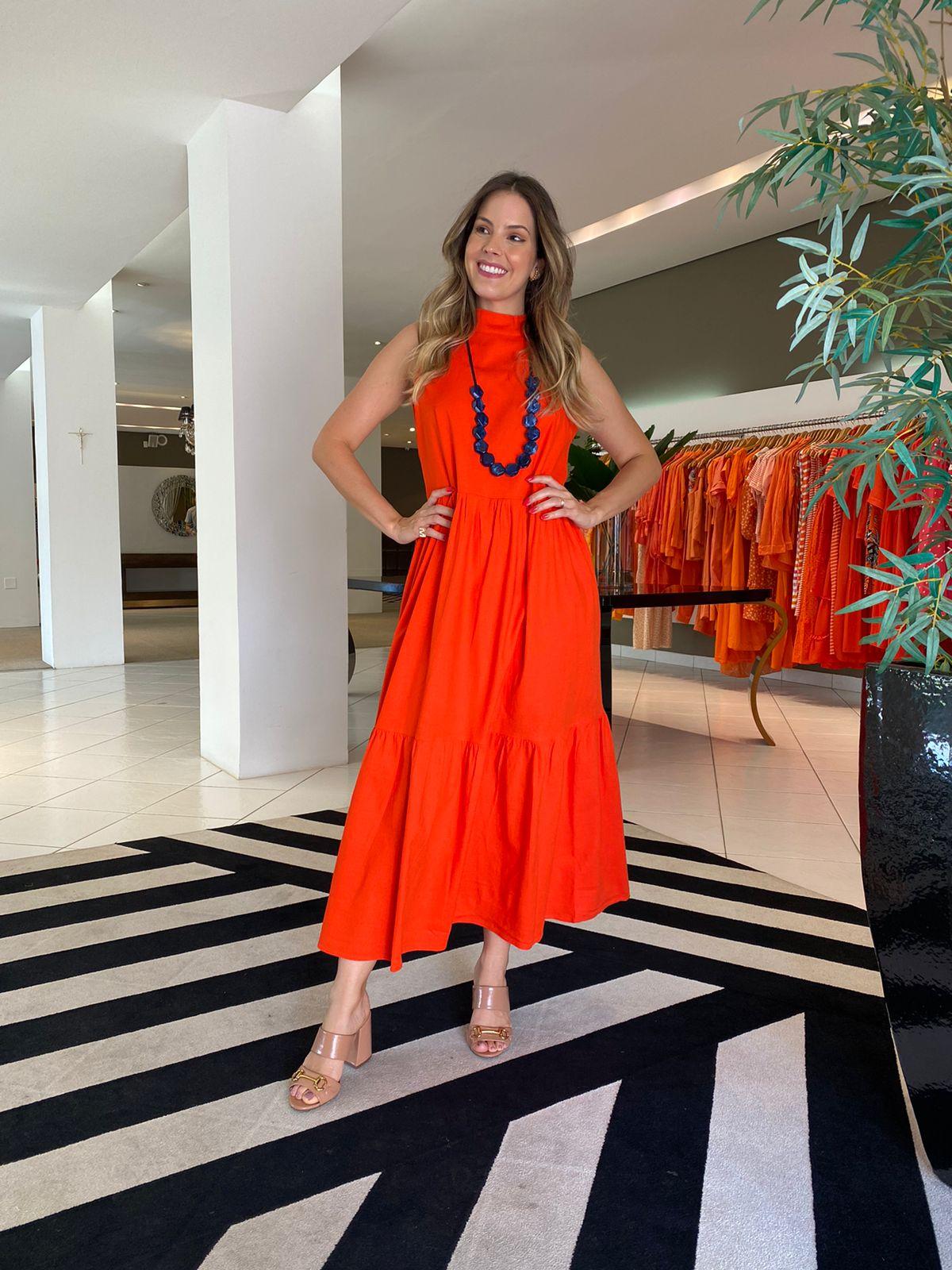 Vestido Miranda em linho Laranja -