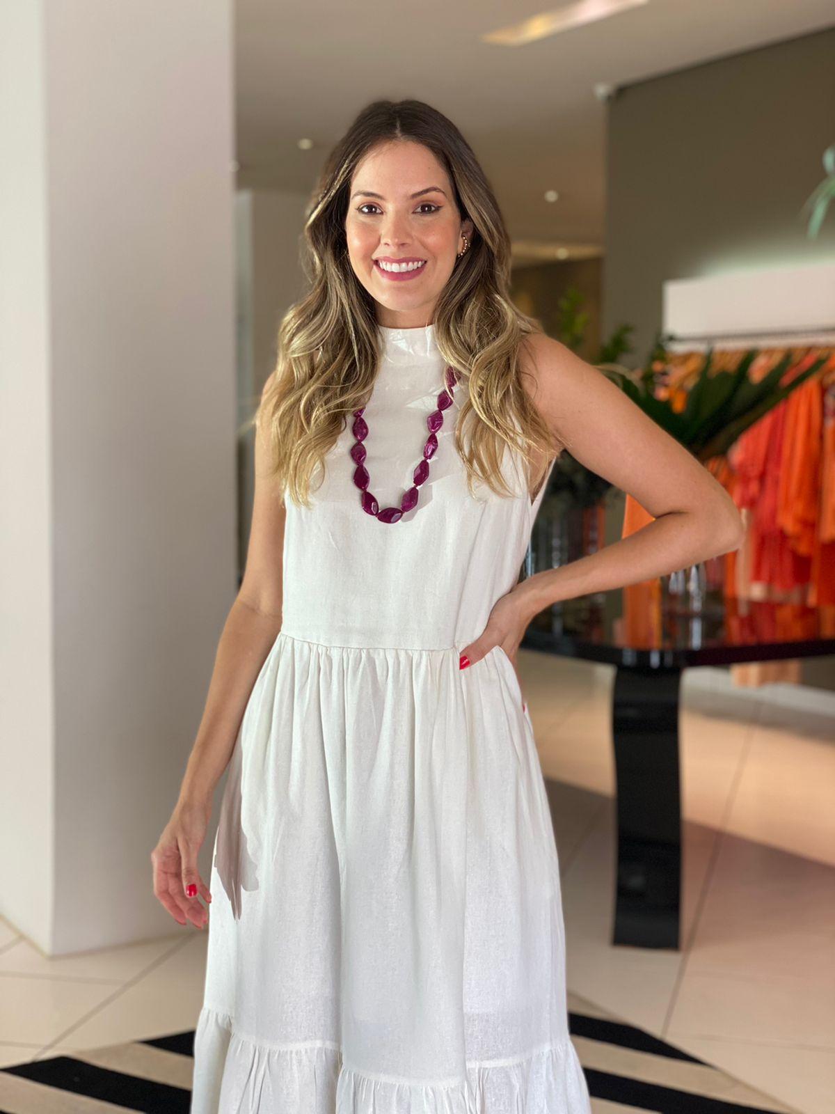 Vestido Miranda em linho Off white -
