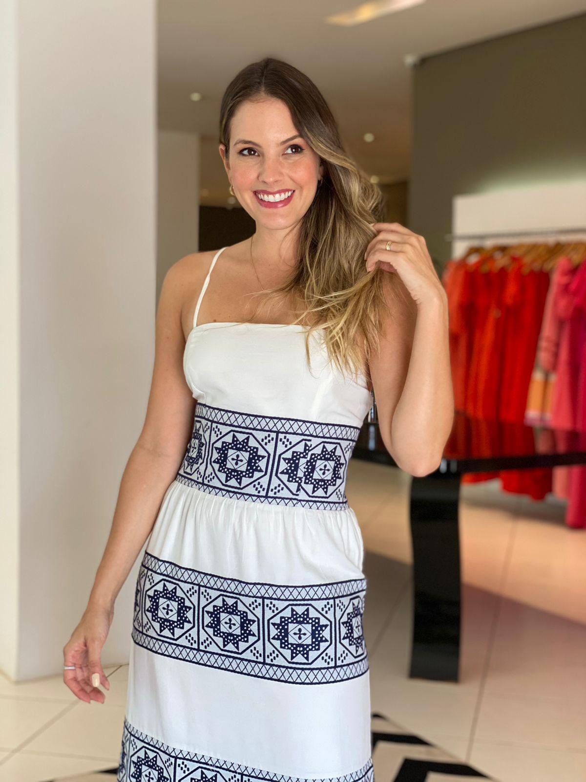 Vestido Morgana midi c/ amarração nas costas Azul Marinho -