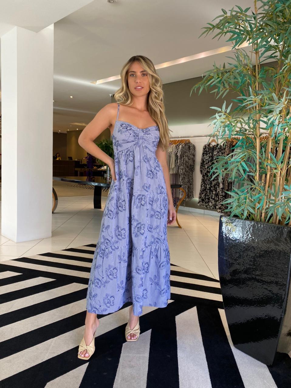 Vestido Mumu Off/Azul -