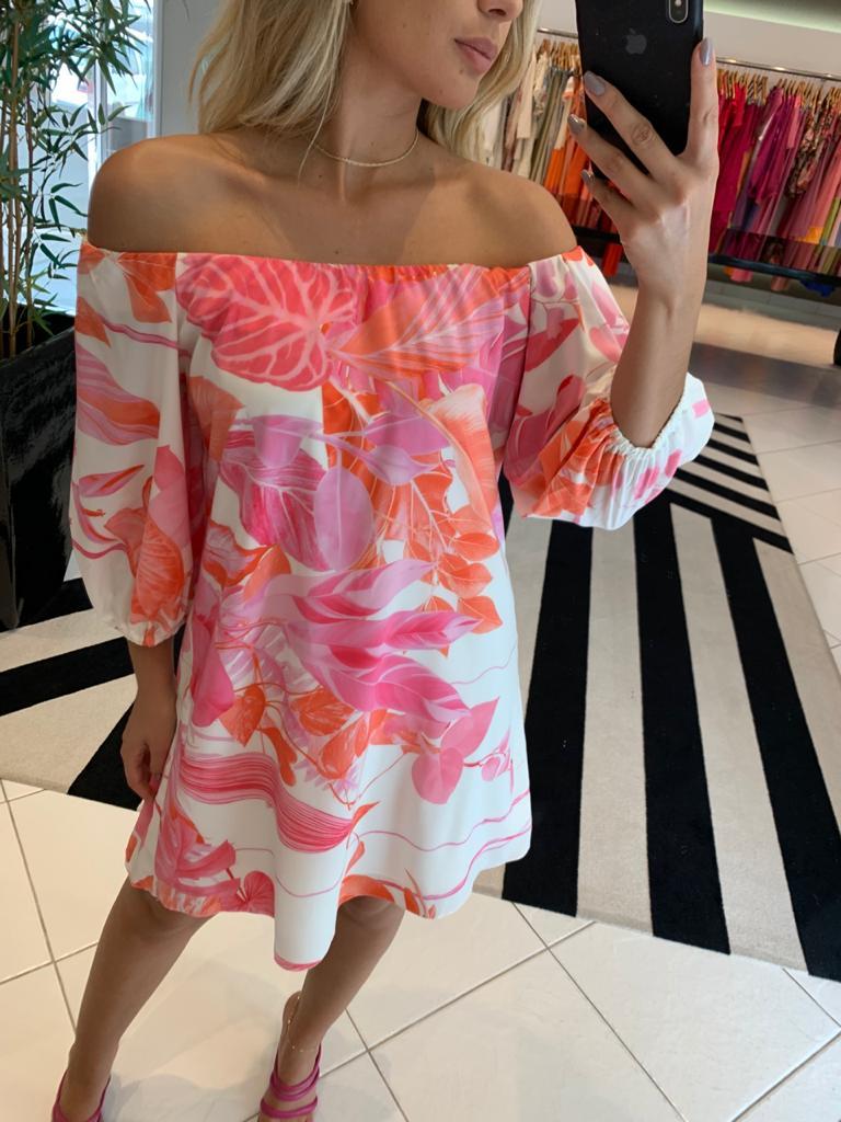 Vestido ombro a ombro floral Rosa -