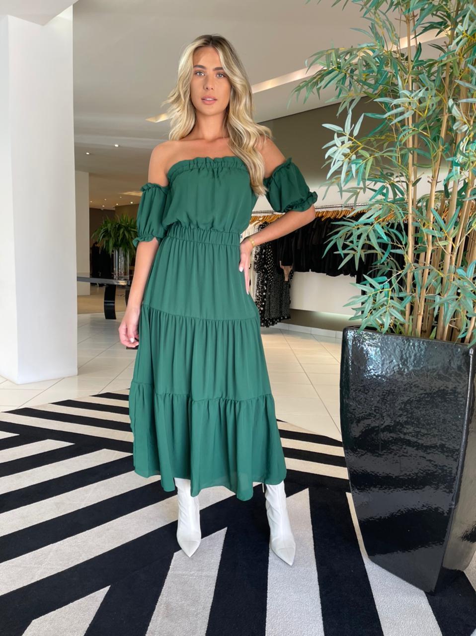 Vestido ombro a ombro fluido Verde -