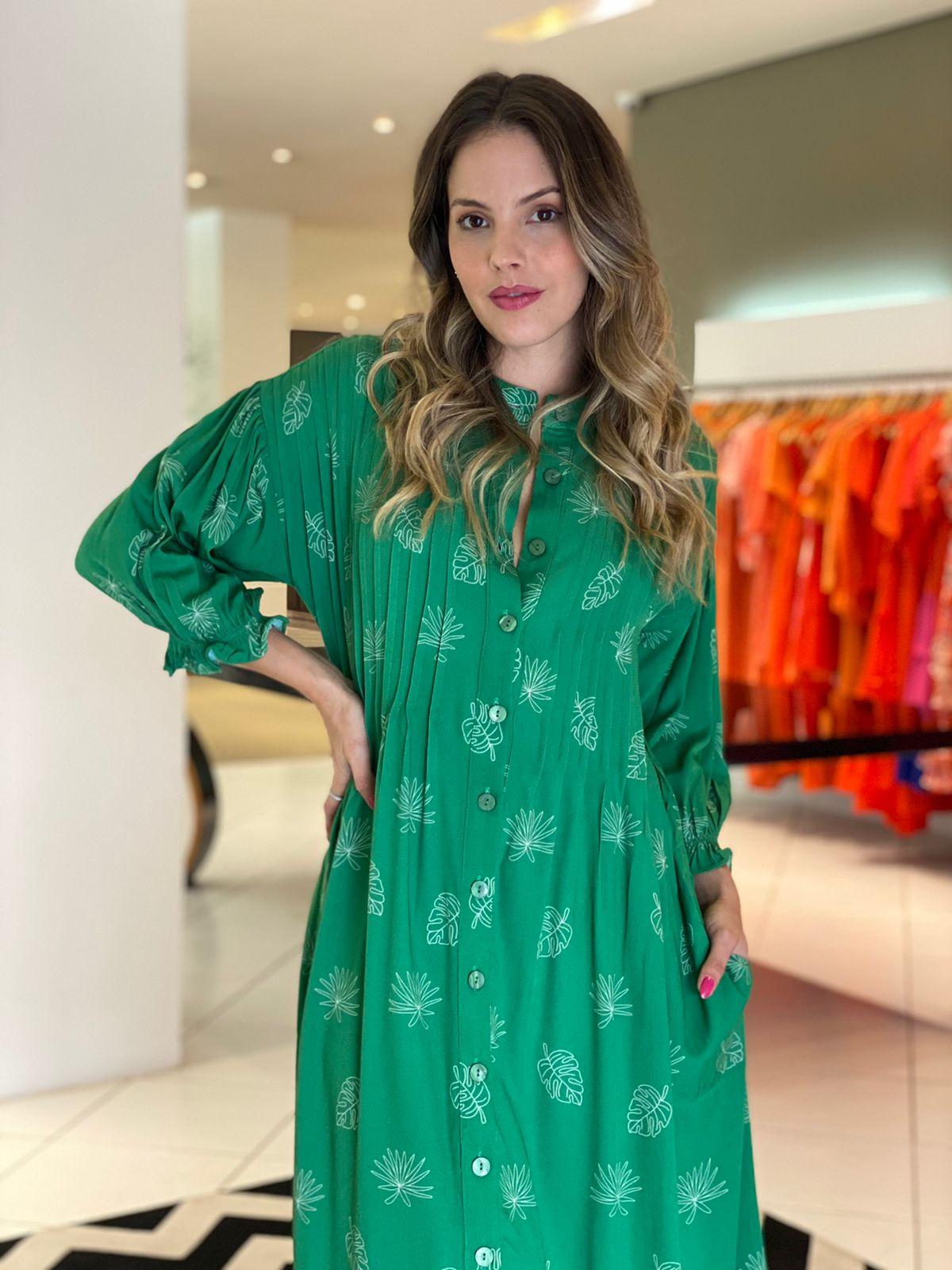 Vestido Rebeca viscose est. mg bufante det. nervura Verde -