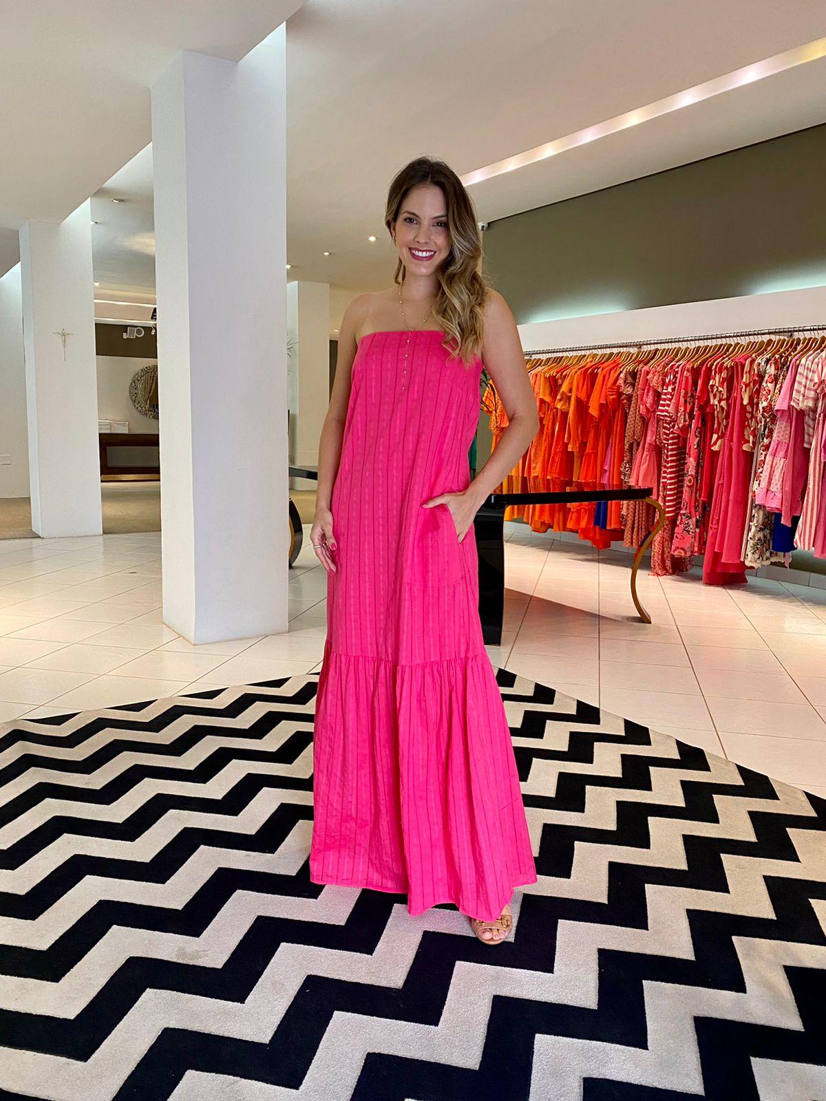 Vestido Sara tqc tricoline maquinetada Pink -