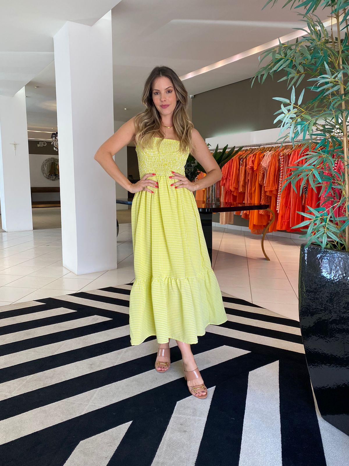 Vestido Sofia xadrez c/ elastex Lima -