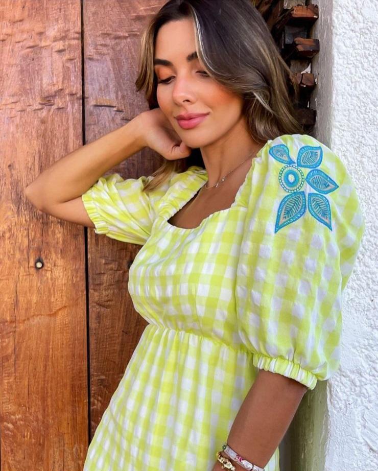 Vestido Tacieli xadrez Verde -