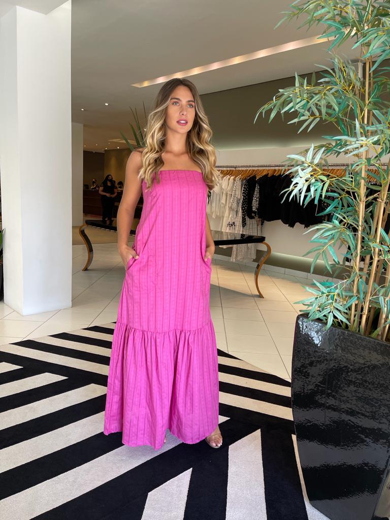 Vestido tqc tricoline maquinetada Rosa -