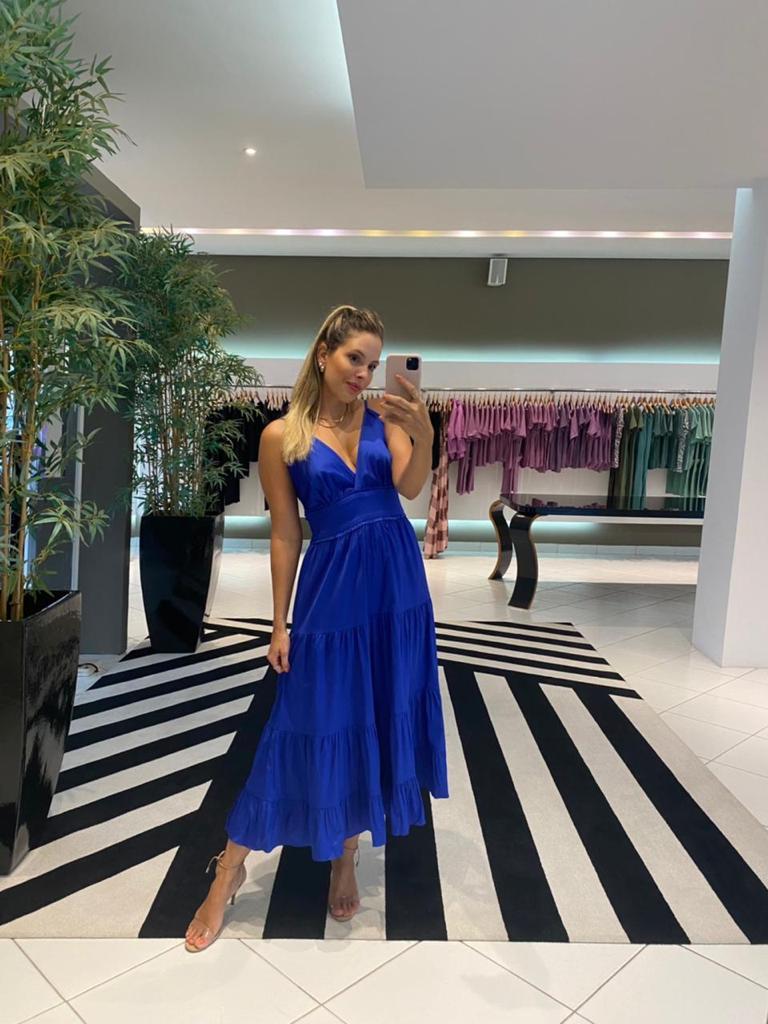 Vestido tricoline alça Azul  -
