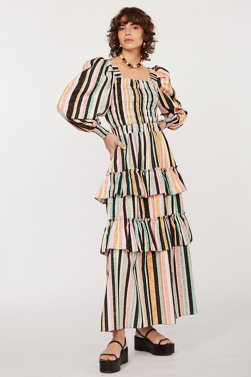 Vestido tricoline Celine listras Preto -