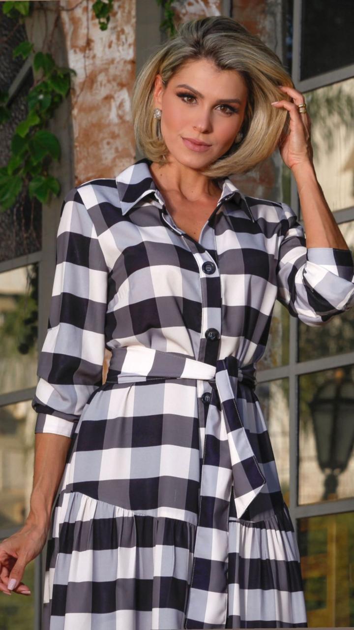 Vestido xadrez c/ botões Preto e branco -