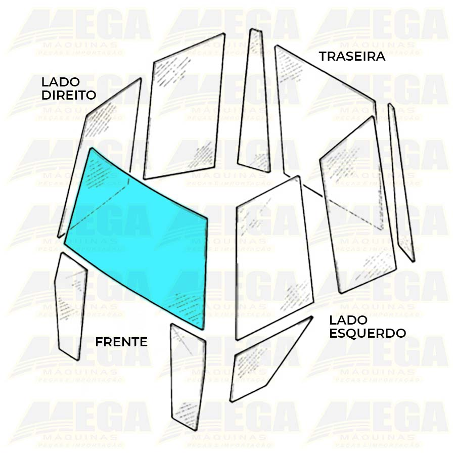 Vidro Parabrisa Frontal Laminado Retroescavadeira JCB 3C 827/80382 82780382