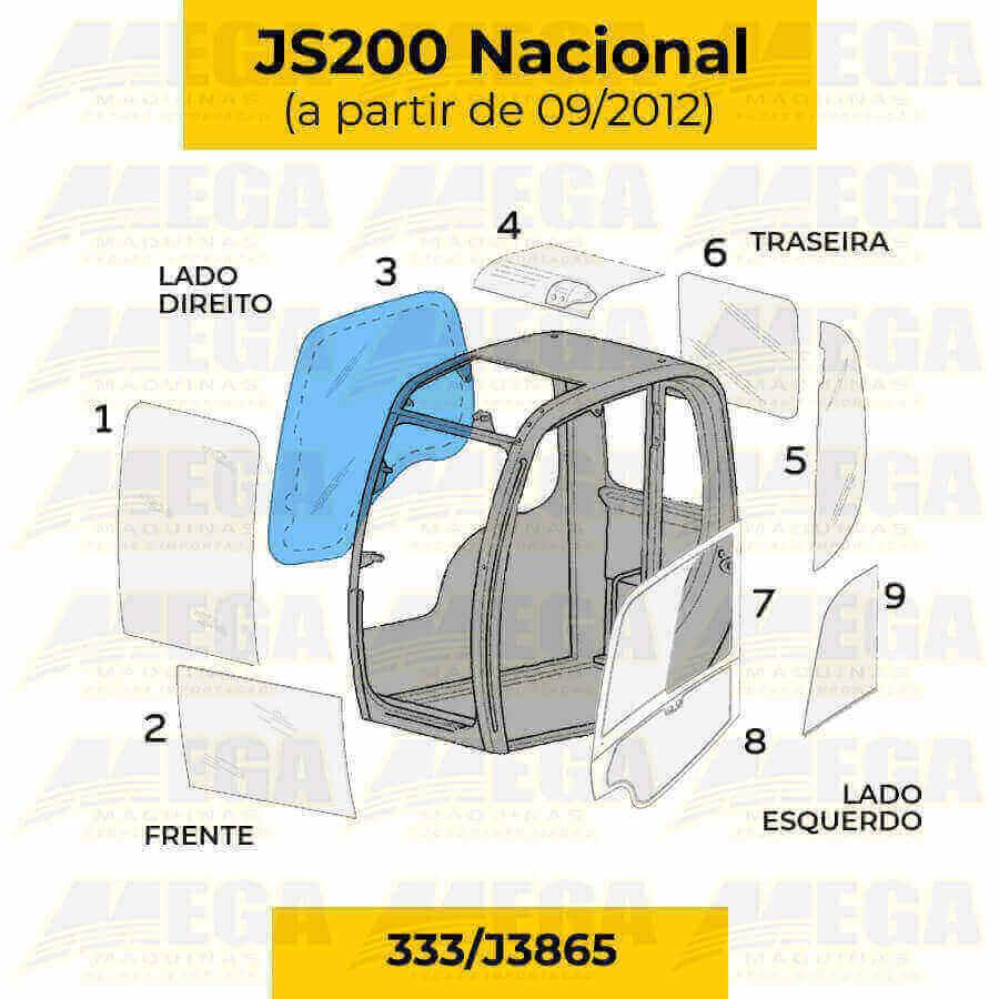 Vidro da Janela Direita JCB JS200 Após 09/2012 333/J3865 333J3865