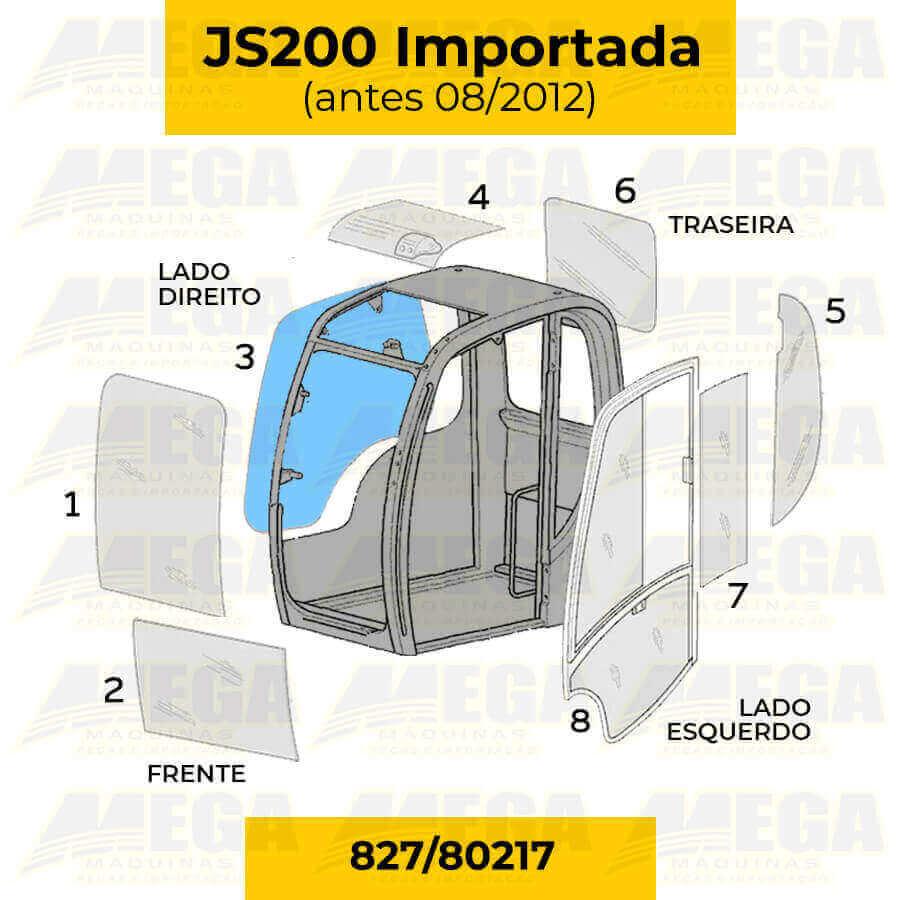 Vidro da Janela Direita JCB JS200 Até 08/2012 827/80217 82780217