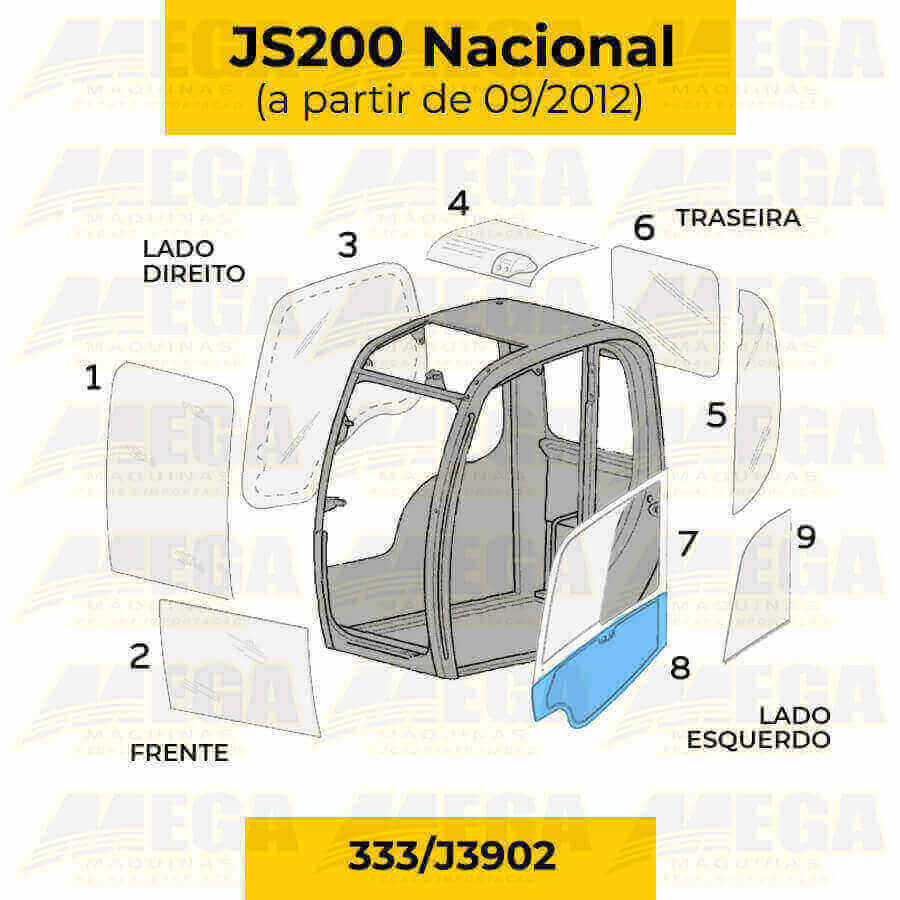 Vidro da Porta Inferior JS200 JCB Após 09/2012 333/J3902 333J3902