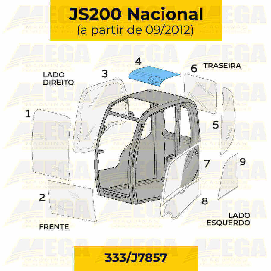 Vidro do Teto JCB JS200 Após 09/2012 333/J7857 333J7857