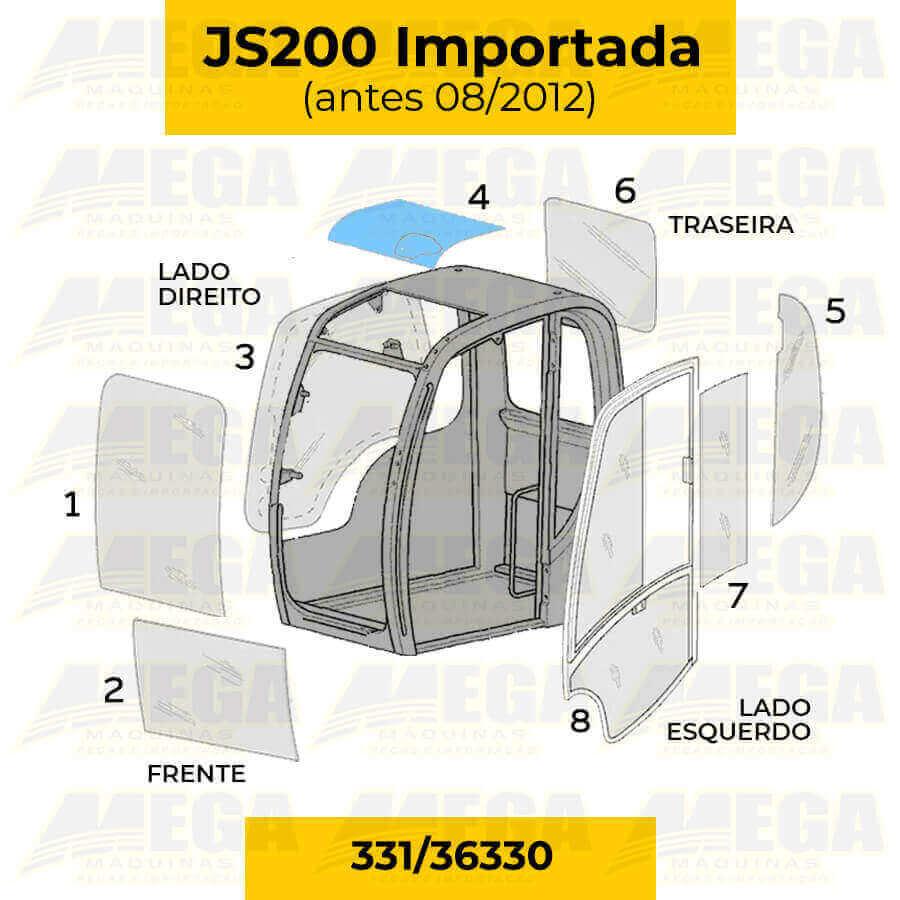 Vidro do Teto JCB JS200 Até 08/2012 331/36330 33136330