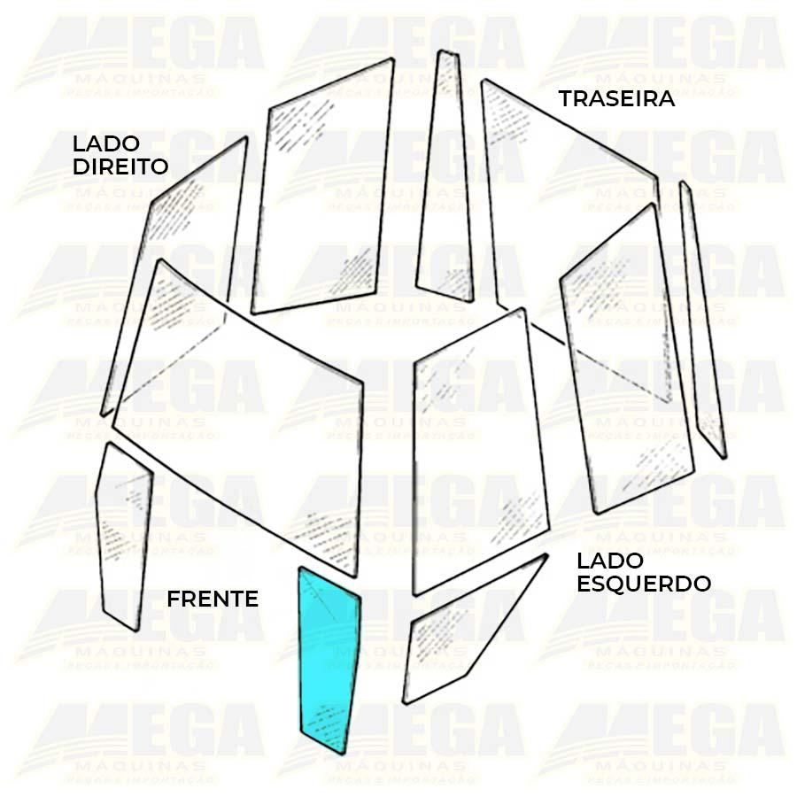 Vidro Frontal Esquerdo Inferior 1/4 Luz Retroescavadeira JCB 3C 827/80371 82780371