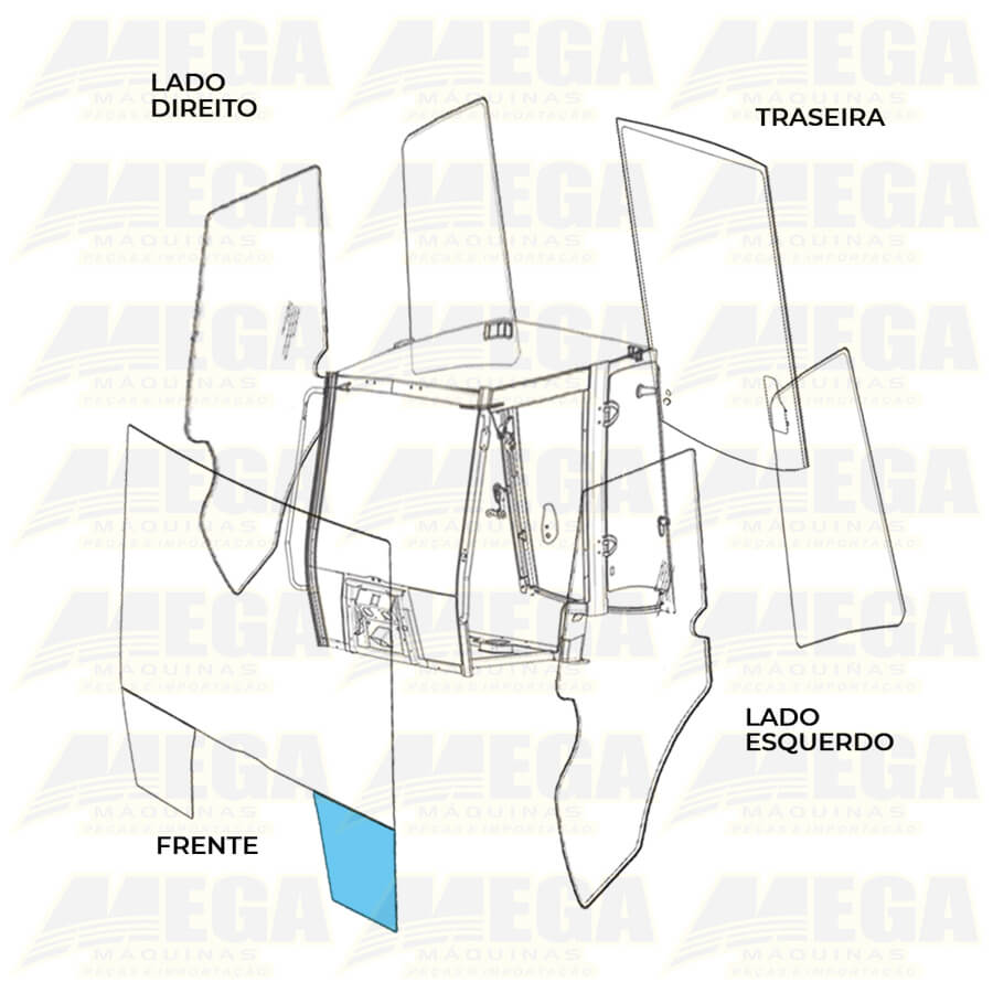 Vidro Frontal Inferior Direito 1/4 Luz JCB 4CX 827/80142