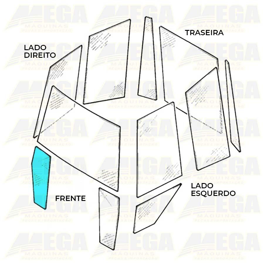 Vidro Frontal Inferior Direito 1/4 Luz Retroescavadeira JCB 3C 827/80370 82780370