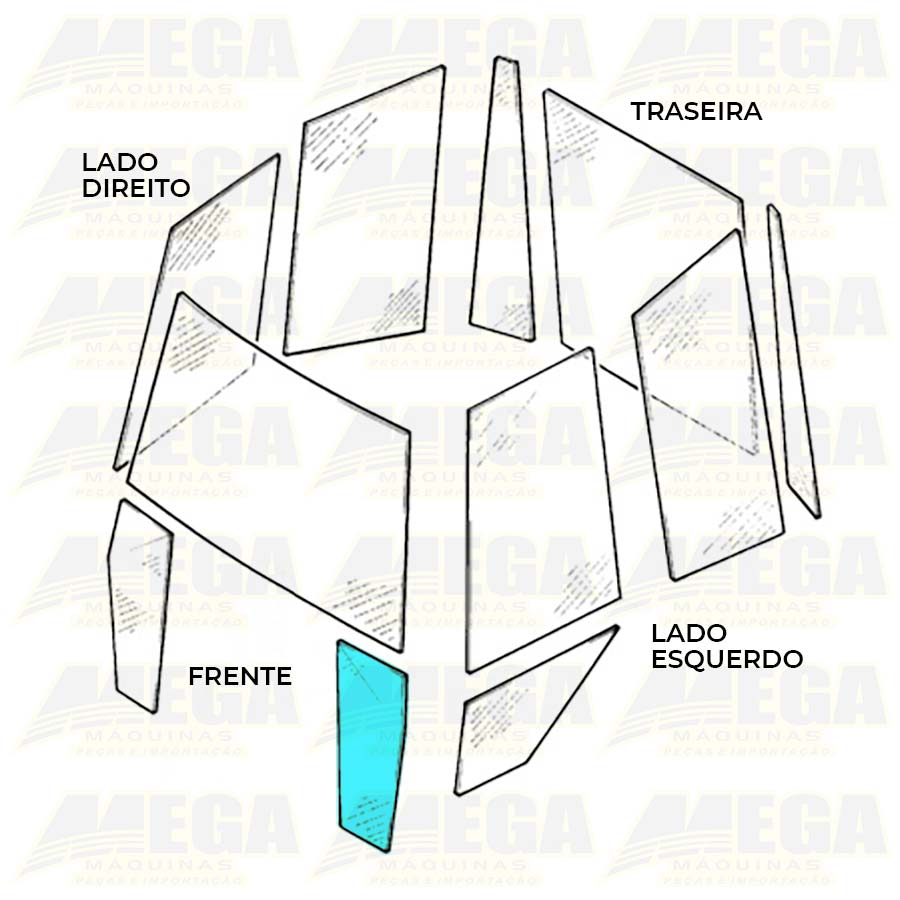 VIDRO FRONTAL INFERIOR ESQ 1/4 LUZ - 3C JCB