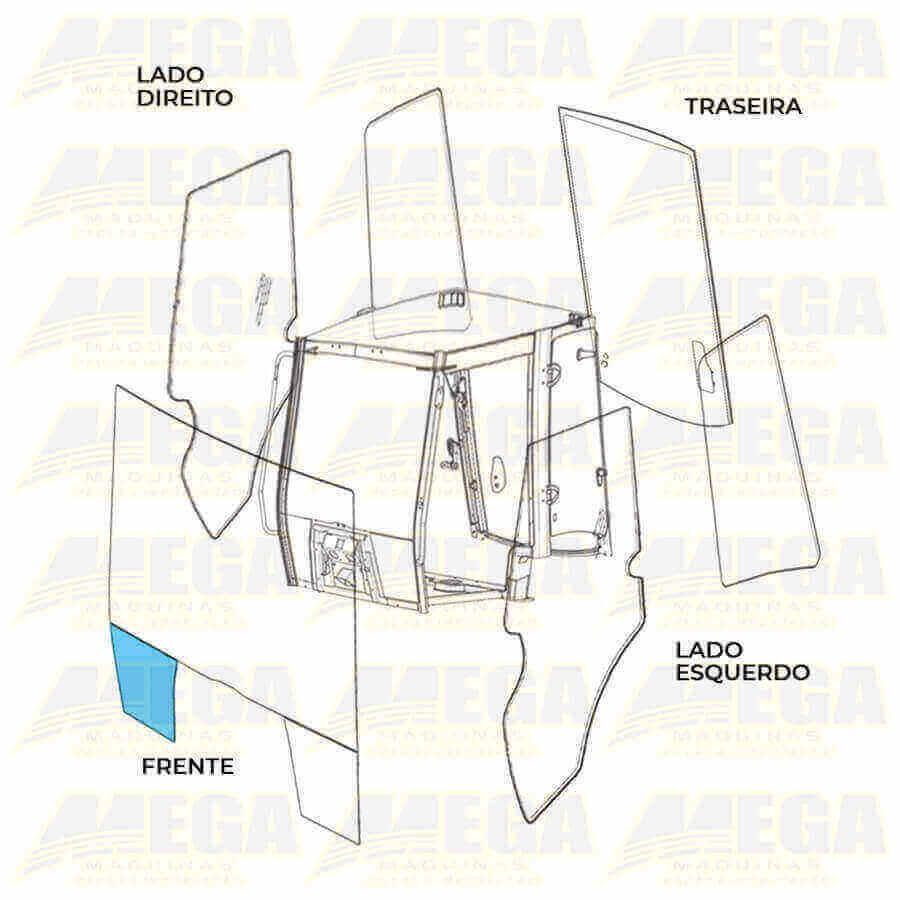 Vidro Frontal Inferior Esquerdo 1/4 Luz JCB 4CX 827/80141