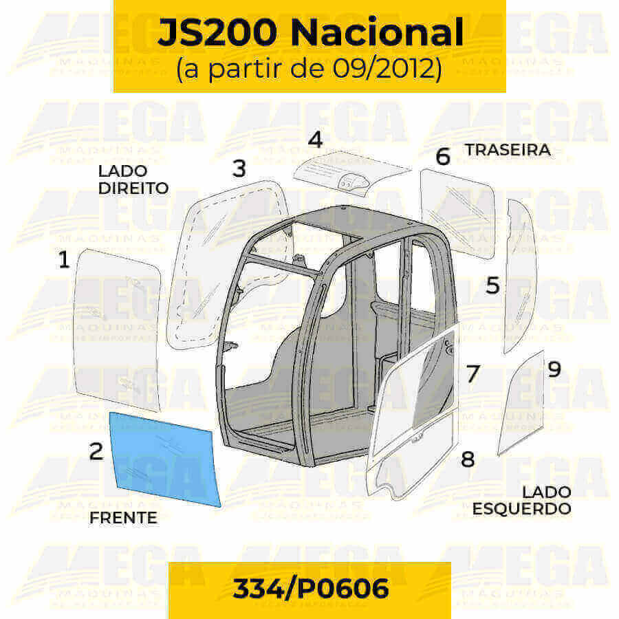 Vidro Frontal Inferior JCB JS200 Após 09/2012 334/P0606 334P0606