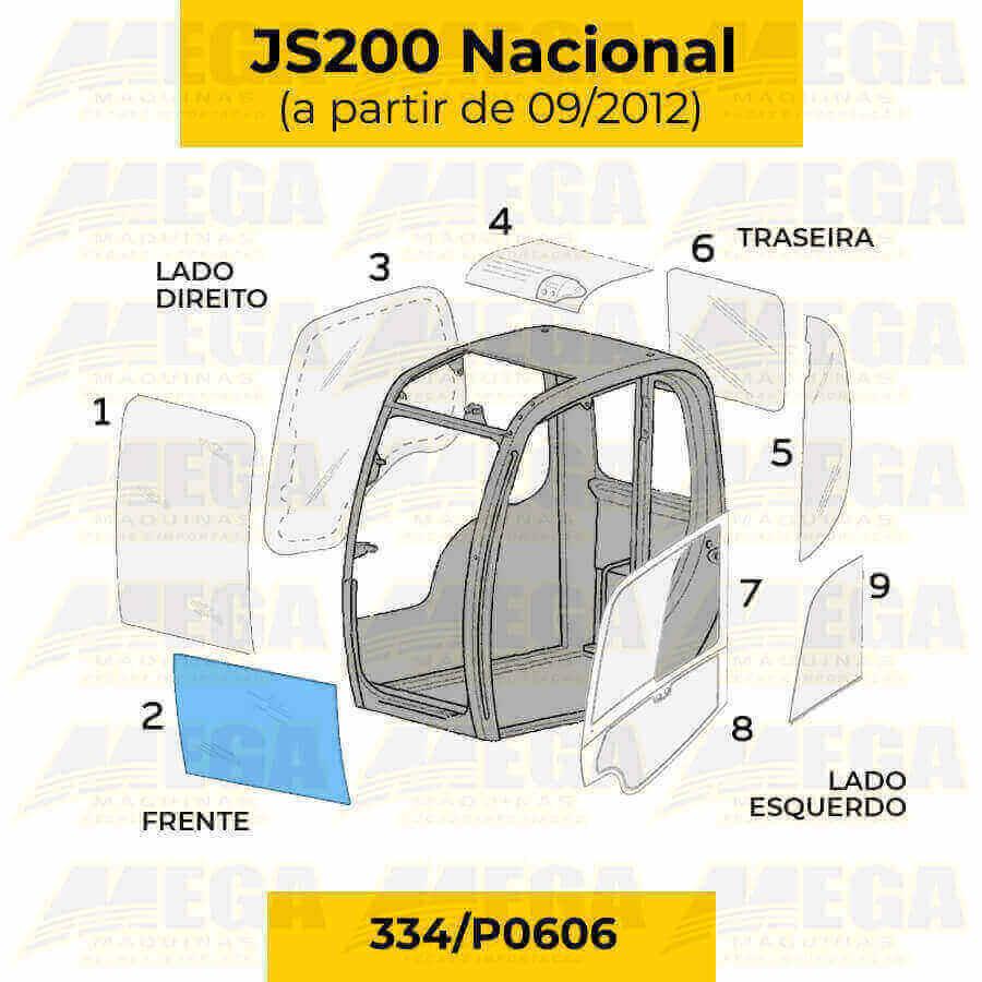 Vidro Frontal Inferior JS200 Após 09/2012 334/P0606 334P0606
