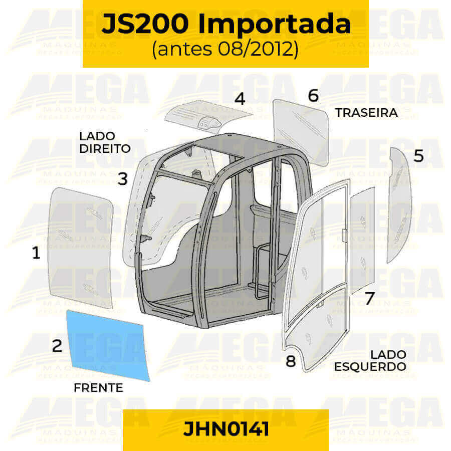 Vidro Frontal Inferior - JS200 (Antes de 08/2012) - JHN0141