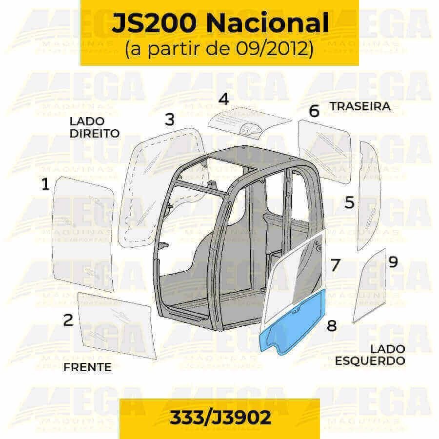 Vidro Inferior da Porta JS200 Após 09/2012 333/J3902 333J3902