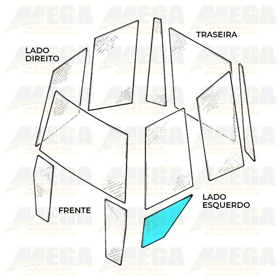 Vidro Inferior Esquerdo Porta Retroescavadeira JCB 3C 827/80369 82780369