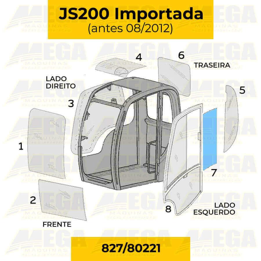 Vidro Janela Móvel da Porta Escavadeira JCB JS200 827/80221 82780221