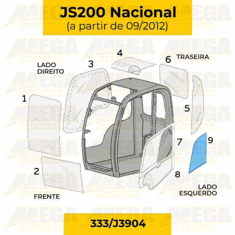 Vidro Janela Móvel da Porta JCB JS200 Após 09/2012 333/J3904 333J3904
