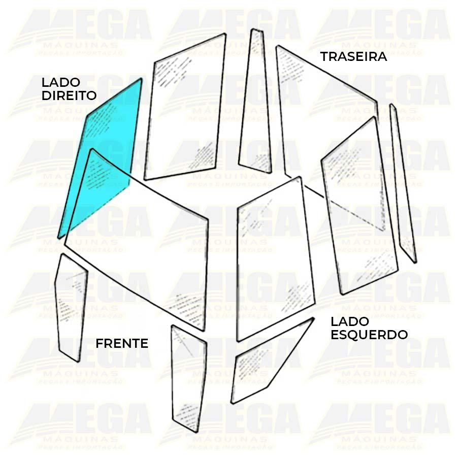 Vidro Lateral Direito Frente Retroescavadeira JCB 3C 827/80373 82780373