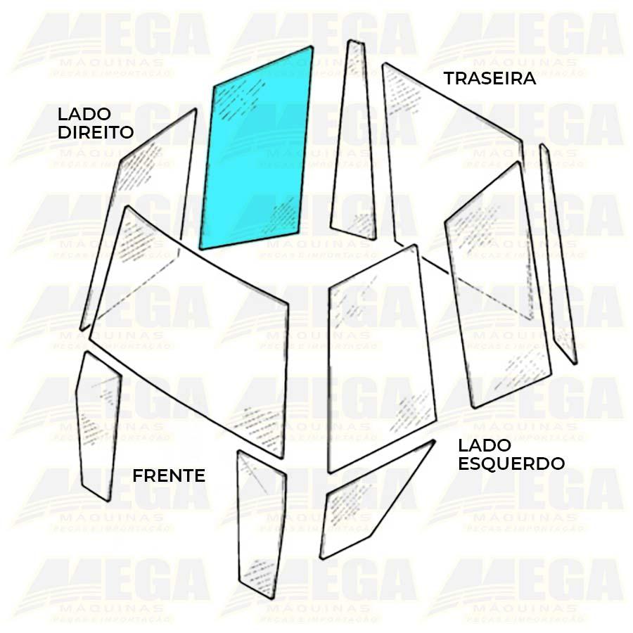 Vidro Lateral Direito Traseiro Janela - Retroescavadeira JCB 3C - 827/80375