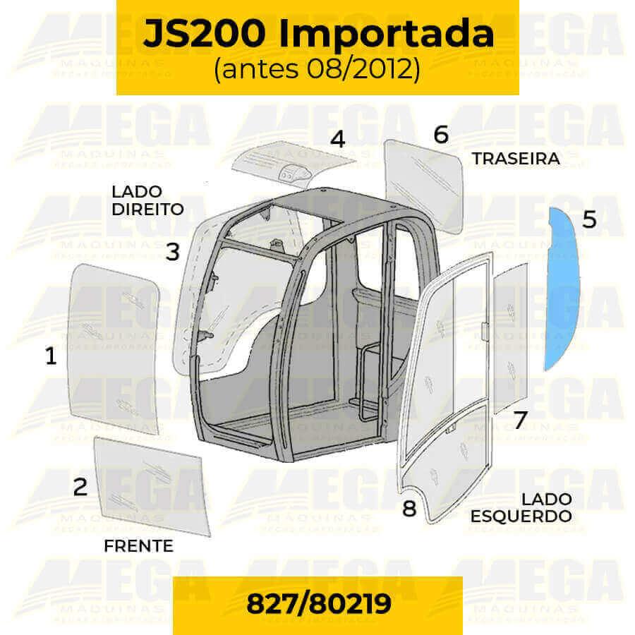 Vidro Lateral Janela Esquerda JS200 Todos os Anos 827/80219 82780219