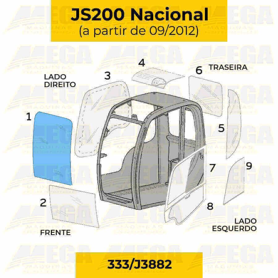 Vidro Parabrisa Frontal Superior JS200 JCB Após 09/2012 333/J3882 333J3882