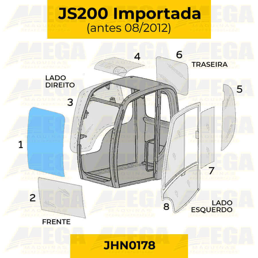 Vidro Parabrisa Frontal Superior JS200 JCB Até 08/2012 JHN0178
