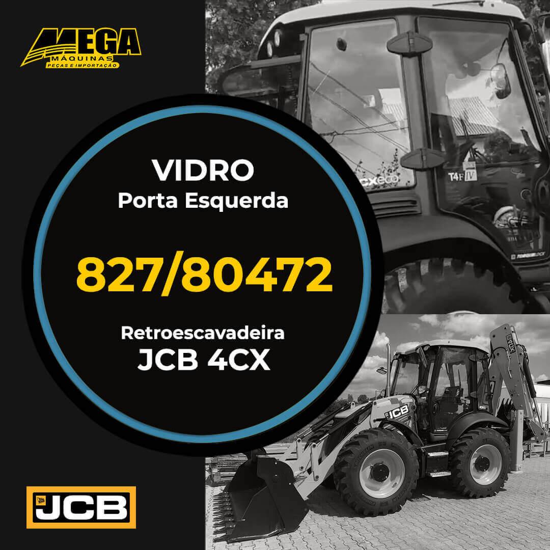 Vidro Porta Esquerda Retroescavadeira JCB 4CX 827/80472 82780472