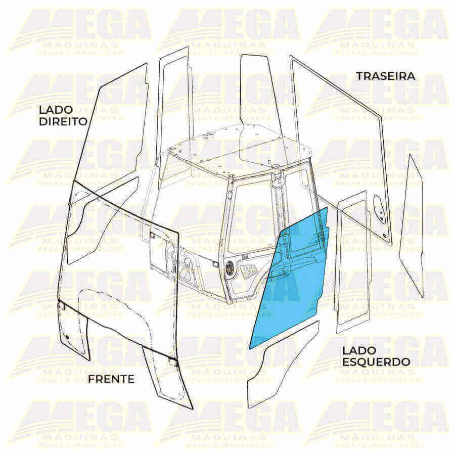 Vidro Porta Esquerda Superior Retroescavadeira JCB 3CX 334/Y0831 334Y0831