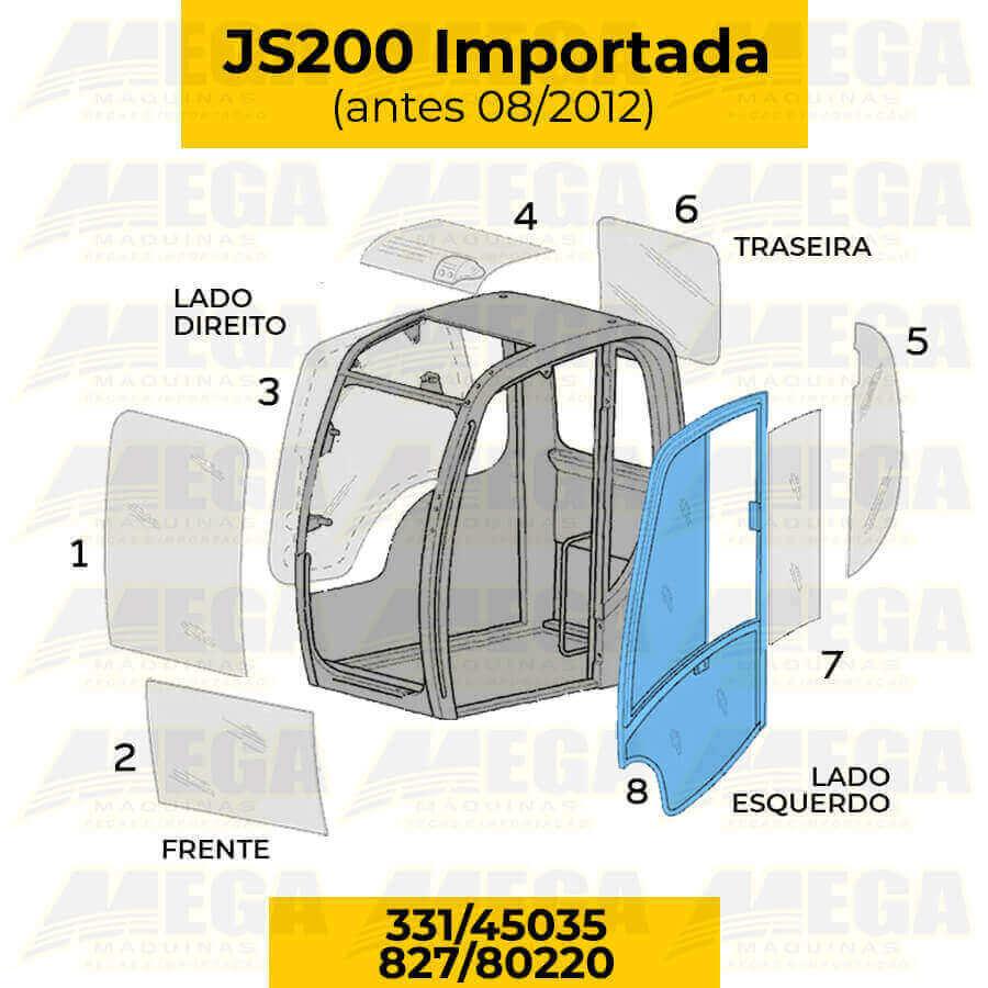 Vidro Porta JCB JS200 Antes de 08/2012 827/80220 82780220