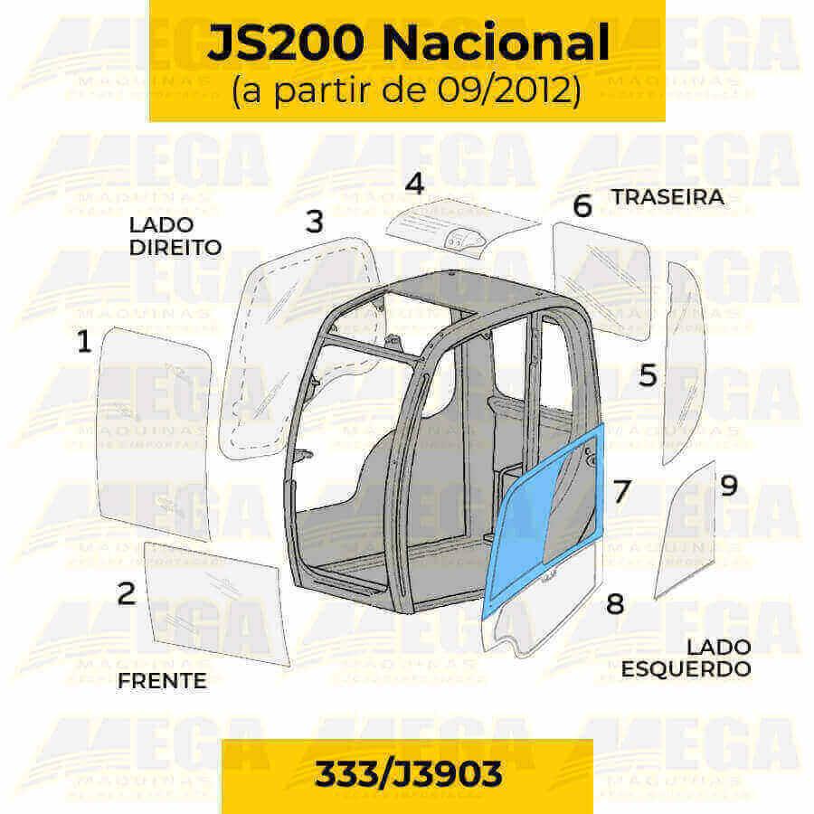 Vidro Superior da Porta JCB JS200 Após 09/2012 333/J3903 333J3903