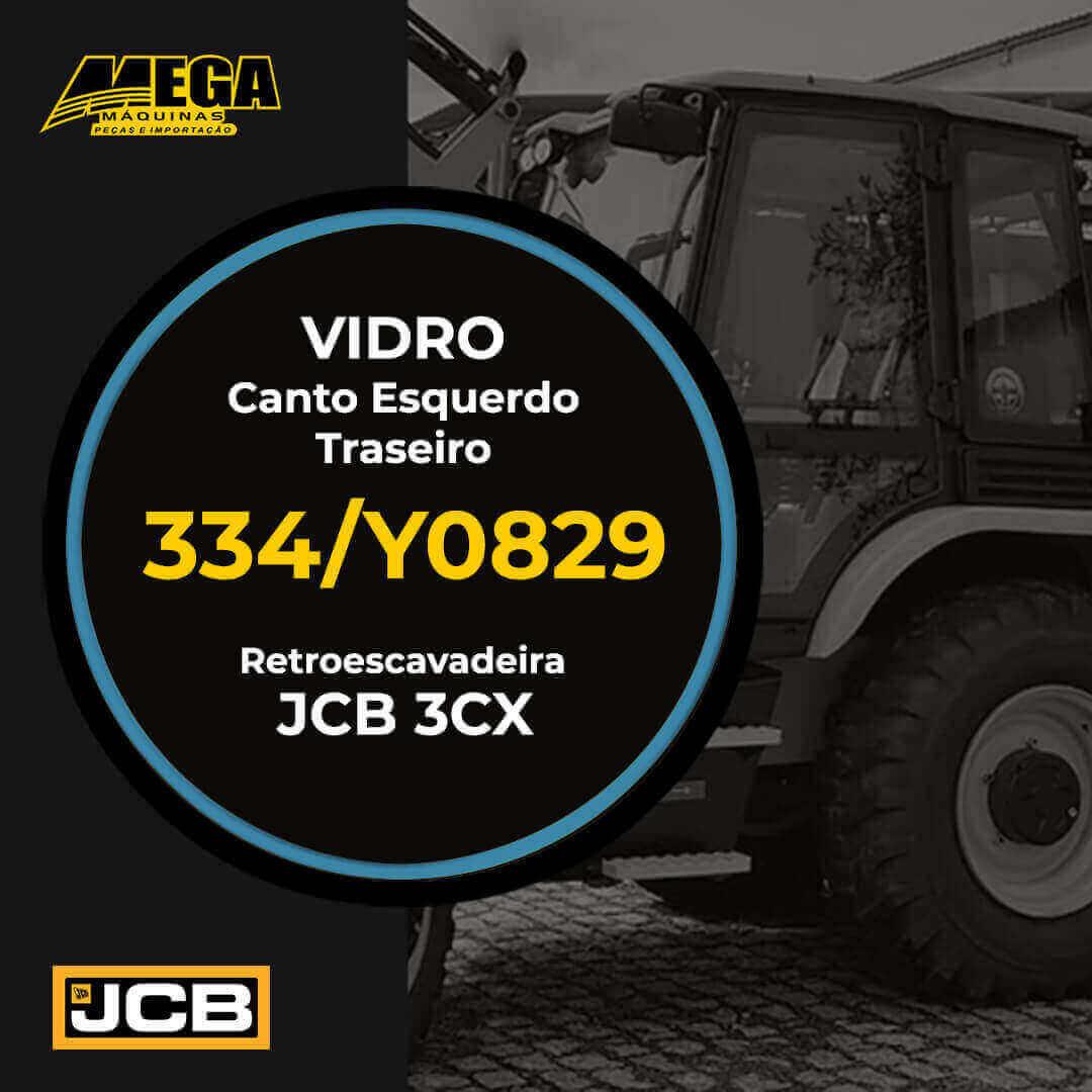 Vidro Traseiro Canto Esquerdo Retroescavadeira JCB 3CX 334/Y0829 334Y0829