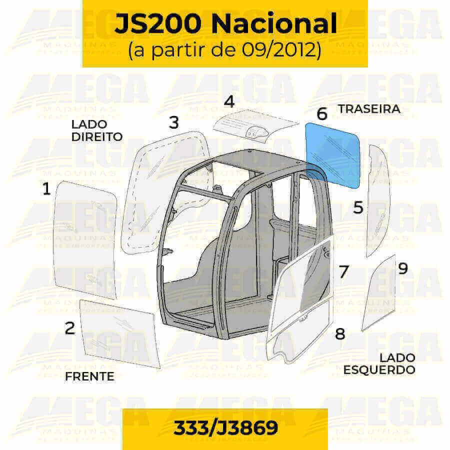 Vidro Vigia Traseiro JCB JS200 Após 09/2012 333/J3869 333J3869