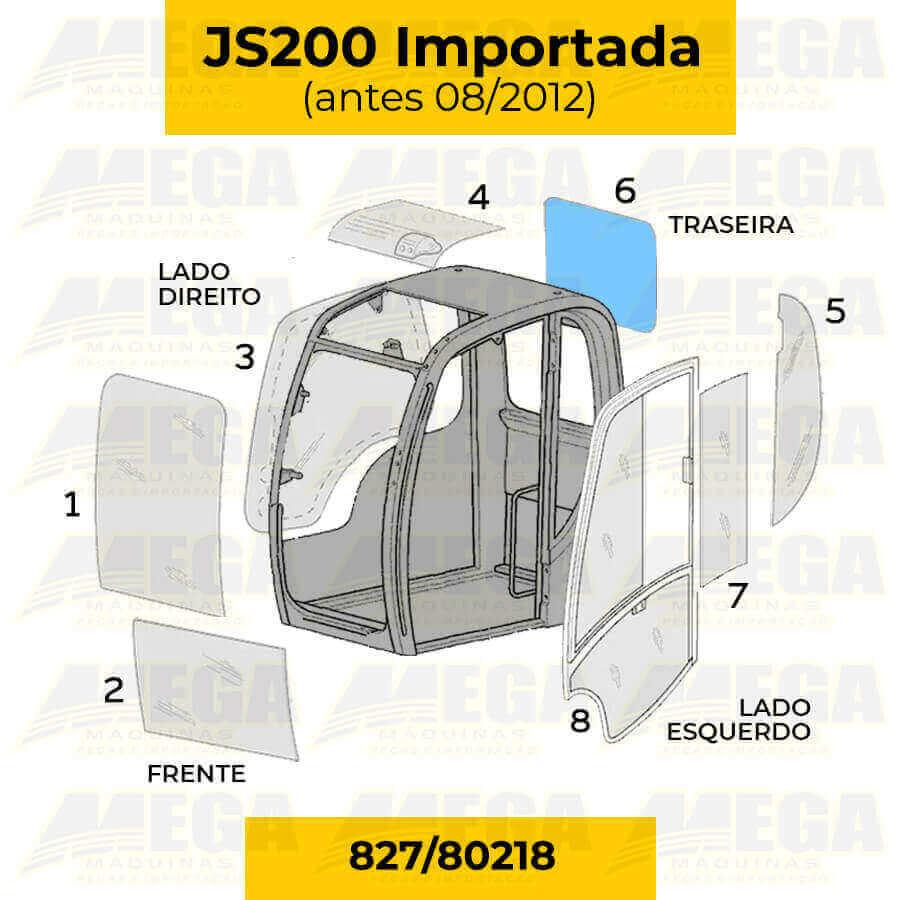 Vidro Vigia Traseiro JCB JS200 Até 08/2012 827/80218 82780218
