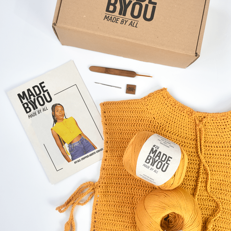 Kit Cropped Aberto com Gola Alta Lady Brown para Made By You