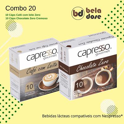 Combo Gourmet 20 Capsulas Chocolate zero e Café com leite Zero