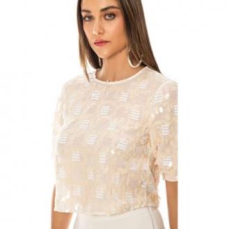Blusa com Decote Redondo com Detalhe em Paetê Bege - Morena Rosa