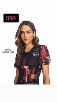 Blusa Decote Redondo Manga Bufante Morena Rosa